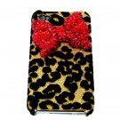 Bling Crystal Velvet Leopard Gold Red Bow Ribbon Back Case Cover for Apple iphone 4 4G 4S A1