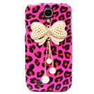 Bling Crystal Leopard Pink Pearl Bow Case Cover For Samsung i9500 Galaxy S4 BW