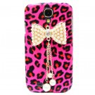 Bling Crystal Leopard Pink Pearl Bow Case Cover For Samsung i9500 Galaxy S4 BP