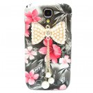 Bling Crystal Pearl Bow Pink Flower Black Hard Case Cover For Samsung i9500 Galaxy S4 BP