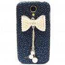 Bling Crystal Pearl Bow Palace Blue Black Flower Hard Case Cover For Samsung i9500 Galaxy S4 BP
