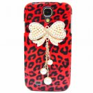 Bling Crystal Leopard Red Pearl Bow Case Cover For Samsung i9500 Galaxy S4 BW