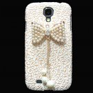 Bling Crystal Pearl Bow Palace Gold White Flower Hard Case Cover For Samsung i9500 Galaxy S4 BP