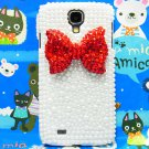 Bling Crystal Red Bow Pearl White Hard Case Cover For Samsung i9500 Galaxy S4 A1