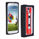 Cassette Tape Pattern Silicone Soft Skin Case Cover for Samsung i9500 Galaxy S4 Black