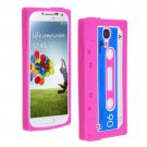 Cassette Tape Pattern Silicone Soft Skin Case Cover for Samsung i9500 Galaxy S4 Hot Pink