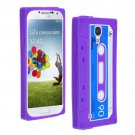 Cassette Tape Pattern Silicone Soft Skin Case Cover for Samsung i9500 Galaxy S4 Purple