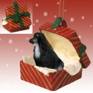 Afghan Black & White Red Gift Box Ornament