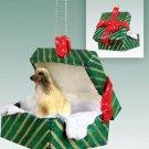 Afghan, Tan & White Green Gift Box Ornament