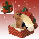 Airedale Red Gift Box Ornament