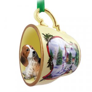 Basset Hound Snowman Holiday Tea Cup Ornament