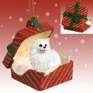 American Eskimo Miniature Red Gift Box Ornament