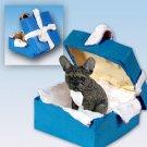 French Bulldog Blue Gift Box Ornament
