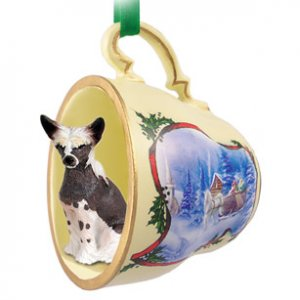 Chinese Crested Dog Sleigh Ride Holiday Tea Cup Ornament