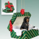 Black & Tan Coonhound Green Gift Box Ornament