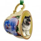 Keeshond Sleigh Ride Holiday Tea Cup Ornament