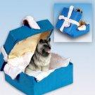 Keeshond Blue Gift Box Ornament