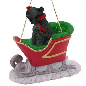 Kerry Blue Terrier Sleigh Ride Ornament