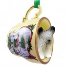 Skye Terrier  Snowman Holiday Tea Cup Ornament