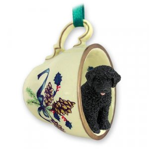 Portuguese Water Dog  Green Holiday Tea Cup Ornament