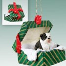 Bulldog, Brindle Green Gift Box Ornament