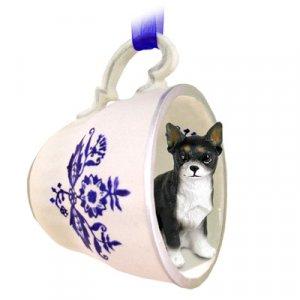 Chihuahua, Black & White Blue Tea Cup Ornament
