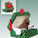 Cocker Spaniel, Brown Green Gift Box Ornament
