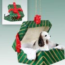 Cocker Spaniel, Brown & White Green Gift Box Ornament