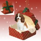 Cavalier King Charles, Brown & White Red Gift Box Ornament