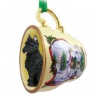Bouvier Snowman Holiday Tea Cup Ornament