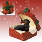 Dachshund, Black Red Gift Box Ornament