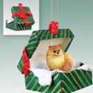 Pomeranian, Red Green Gift Box Ornament