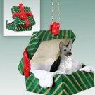 German Shepherd, Silver & Black Green Gift Box Ornament