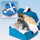 Schnauzer, Gray Blue Gift Box Ornament