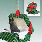 Great Dane, Black Green Gift Box Ornament