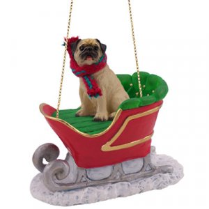 Pug, Fawn Sleigh Ride Ornament