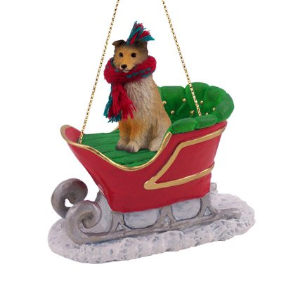 christmas ornaments to make sheltie sleigh ride ornament 31671