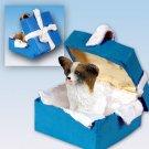 Papillon, Brown & White Blue Gift Box Ornament