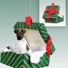 Fox Terrier, Brown & White Green Gift Box Ornament