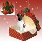 Fox Terrier, Brown & White Red Gift Box Ornament