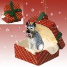 Schnauzer, Giant, Gray Red Gift Box Ornament