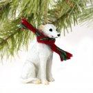 Whippet, White Christmas Ornament