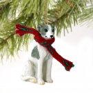 Whippet, Gray & White Christmas Ornament