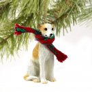 Whippet, Tan & White Christmas Ornament
