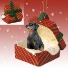 Doberman, Black, Uncropped Red Gift Box Ornament