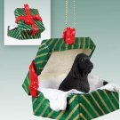 English Cocker Spaniel, Black Green Gift Box Ornament