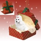 Poodle, White Red Gift Box Ornament