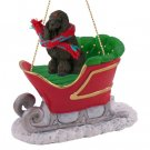 Poodle, Chocolate Sleigh Ride Ornament