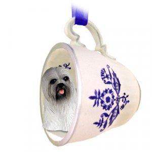 Lhasa Apso, Gray Blue Tea Cup Ornament