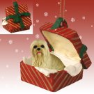 Lhasa Apso, Blonde Red Gift Box Ornament